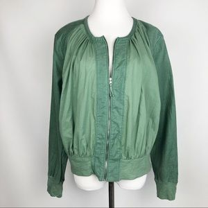 Anthropologie Hei Hei Green Cotton Linen Jacket